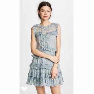Rebecca Taylor chiffon ruffle floral mini dress